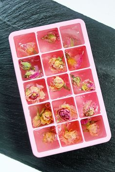 Rose water ice cubes. Genius, and gorgeous.