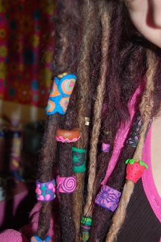 Leather imitation dreadlock beads set  3 Polymer clay dreadlocks beads Locks jewelry Dread beads Fimo Beads