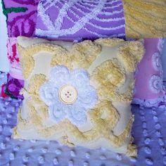 Chenille Pillow, Vintage Chenille Pillow, Cotton Pillow, Handmade Pilllow, Accent Pillow, Floral pillow, Nursery Pillow, Yellow Pillow, by KMelvilleDesigns on Etsy