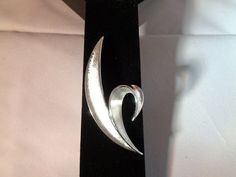 """TRIFARI Fleur de Lis Style Brushed Silvertone  Modernistic Large Brooch 3"""" For Sale at $24.00 Free Shipping Sunday Special 10% off today only. Email me thru the Etsy system and I will chage the price.  Stunning brooch."""
