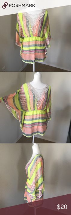 """Pastel Batwing Top Multi patterned batwing sheer blouse with laced crochet v neck pattern. Perfect for summer. In good used condition. 100% polyester. Shoulder to bottom hem line length approximately 28"""" inches. E2 clothing Tops Blouses"""