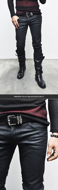 Bottoms :: Jeans :: Dark Wax Coat Lowrise Slim Black-Jeans 165 - Mens Fashion Clothing For An Attractive Guy Look