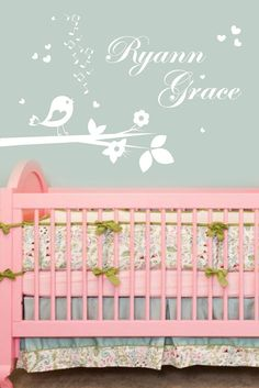 Wall Decals Nursery Monogram Wall Decal Baby Name Decals Coral - Monogram wall decal for nursery