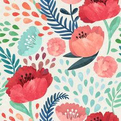 Wake up your walls with Artemis Walls peel and stick removable repositionable wallpaper! Our Peel and Stick wallpaper is easy to apply and just as easy to remove. No paste required=no mess. Define your style with our unique wallpaper designs! Design Floral, Motif Floral, Floral Wall, Design Color, Floral Patterns, Textile Patterns, Hand Illustration, Illustrations, Poppy Pattern
