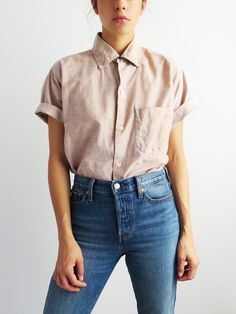 Boxy short sleeve shirt // vintage button down shirt sold button down outfit, button Button Down Outfit, Button Down Shirts, Women Button Down Shirt, Button Downs, Casual Outfits, Cute Outfits, Party Outfits, Rock Outfits, Fall Outfits