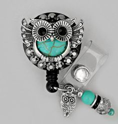DELUXE Owl ID reel Badge holderGorgeous Bling Badge by Badgetopia