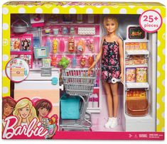 Mattel Barbie Doll & Supermarket Playset Fun accessories like a checkout stand with register and working conveyor belt, display stand, rolling shopping cart and pretend food pair with a classic Barbie doll in this Mattel supermarket-themed playset. Mattel Barbie, Barbie Doll Set, Barbie Sets, Doll Clothes Barbie, Barbie Doll House, Barbie Dream House, Barbie Stuff, Barbie Food, Pink Barbie