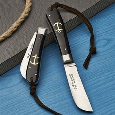 Beautiful Anchor Knives MADE WITH BONE HANDLES & LEATHER LANYARDS