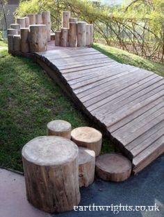 Balancing logs and wooden walkway