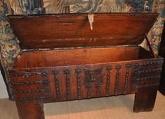 """LATE 15TH/ EARLY 16TH CENTURY OAK AND IRON BOUND WESTPHALIAN CLAMP FRONT CHEST. CIRCA 1500. OF WONDERFUL PROPORTIONS . EXCELLENT CONDITION AND A STUNNING COLOUR. 68"""" WIDE X 32"""" HIGH X 23"""" DEEP."""