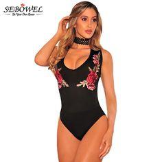 SEBOWEL lack Embroidered Rose Choker Bodysuit 2017 New Fashion Women Black  Sexy Flower Halter Straps Mesh c667ab4f1b3