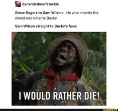 Dynamicduoofslackie Steve Rogers to Sam Wilson: He who inherits the shield also inhems Bucky. Sam Wilson straight lo Bucky's face: - iFunny :) Funny Marvel Memes, Marvel Jokes, Dc Memes, Avengers Memes, The Avengers, Marvel Avengers, Marvel Comics, The Maxx, Bucky Barnes