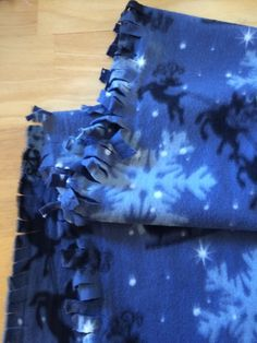 Scarf Blue White Snowflakes Reindeer Ruffle Scarf Cotton Flannel READY TO SHIP Winter Fashion Women Accessories