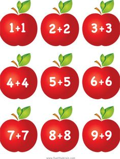 Apple Pairs - Doubles Addition | Fuel the Brain Printables