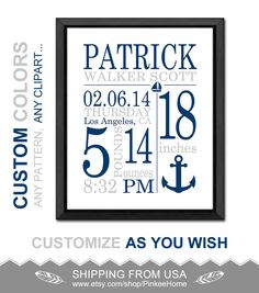Nautical baby announcement gift nautical birth details print birth announcement nautical nautical baby birth print birth stats anchor nautical baby decor boys gift baby stats navy gray baby gifts negle Images