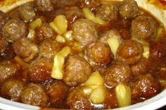 Sweet and sour pineapple meatballs. I've lost my recipe so trying this one.