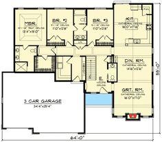 Plan W89940AH: Craftsman, Ranch, Northwest House Plans & Home Designs