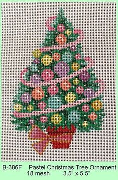"""Pastel Christmas Tree Ornament"" by Brenda Stofft Designs Size: x Mesh Count: 18 Christmas Charts, Christmas Cross, Christmas Tree Ornaments, Xmas Tree, Needlepoint Designs, Needlepoint Kits, Needlepoint Canvases, Cross Stitch Kits, Cross Stitch Patterns"