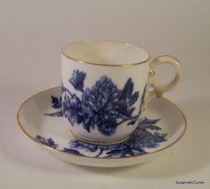 1884 Royal Worcester Demi Cup & Saucer Blue Floral Antique Puce Mark