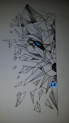 Latest stuff of mine Wolf Drawing cute tattoo Geometric Wolf Tattoo, Geometric Drawing, Geometric Art, Pencil Art Drawings, Art Drawings Sketches, Easy Drawings, Drawing Drawing, Drawing Ideas, Drawing Stuff