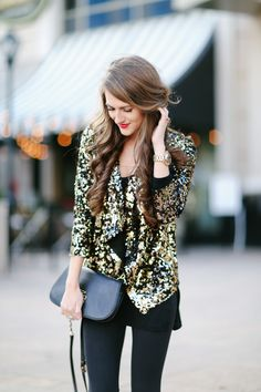 New Year's Eve outfit featuring @nordstromrack sequin blazer!
