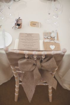 Chair Bow Kraft Brown Paper Stationery Old New Hessian Lace Wedding Cat Theme http://www.milkbottlephotography.co.uk/