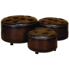 """Set of three 29"""", 24"""" and 20"""" Classic Brown Faux Leather Upholstered Wood Round Ottomans, tufted seats with hobnailed edging, block feet"""