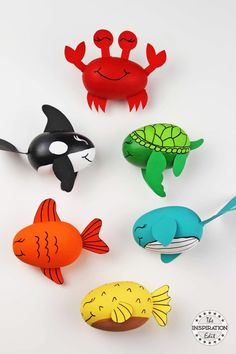 DIY Ocean Craft For Kids Blue Whale Crab And Fish · The Inspiration Edit - Why not try this DIY Ocean Craft For Kids. A fun painting activity for toddlers, preschoolers or ol - Whale Crafts, Ocean Animal Crafts, Crab Crafts, Animal Crafts For Kids, Art For Kids, Rock Painting Ideas For Kids, Beach Crafts For Kids, Easter Egg Crafts, Easter Eggs