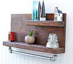 Cabin Style Shelf with Pipe Towel Rack, Bathroom Shelf, Bath Shelving, Wall Shelf, Chic Decor, Cabin Decor