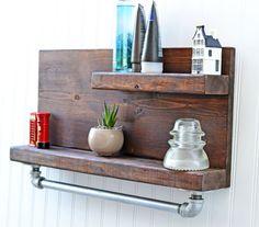 Rustic Design Shelf with Iron Pipe Towel Rack, Bathroom Shelf, Rustic Furniture, Wall Shelf, Chic Decor, Bathroom Art, Bath Storage