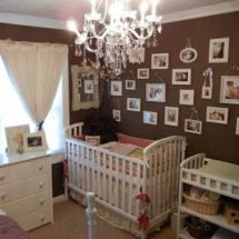 vintage baby themes for girls | ... unisex chocolate brown vintage nursery with antique white crib bedding