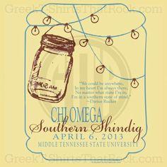 Chi Omega Mason Jar and Lights Southern Shindig Shirt. Love this design! Recruitment Rush and Bid Day Shirts!