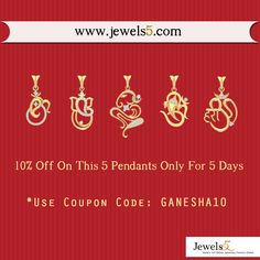 Buy Ganesha Pendants At Lowest Price ♥  Visit: www.jewels5.com ♥    10% Off On 5 Latest Ganesha pendants ♥    Only For 5 Days :)    Coupon Code: GANESHA10   #ganesha #jewellery #shopping #pendants #ganesha_pendants #ganesh #jewels5ganpati ♥
