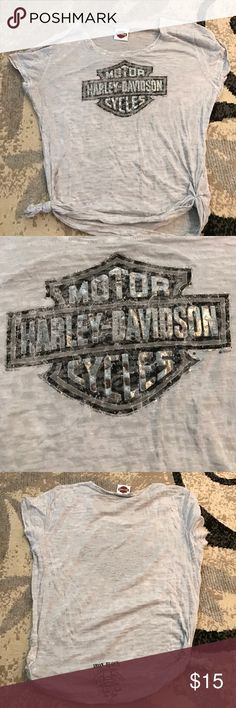 Harley Davidson tee This is a shear grey Harley shirt. It is in great condition ! It does have the Adams's NY dealer logo on the back as pictured in last pic. Harley-Davidson Tops Tees - Short Sleeve