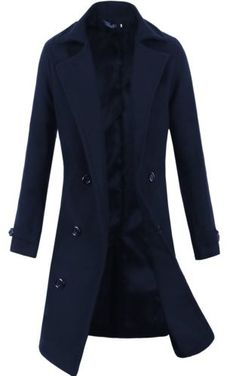 Outwear Winter Men Trench Coat Long Jacket Double Breasted Overcoat Navy XL