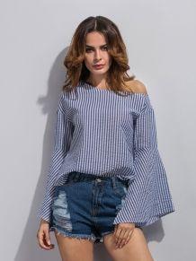 f7d549175654 Blue Off Shoulder Striped Belle Sleeve Blouse Košele A Tričká