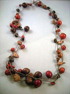 Zandstorm: Ketting met cocoskralen (Juwelen,halsketting)