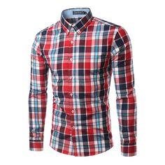 100% Cotton Mens Plaid Shirt 2016 New Mens Slim Long Sleeve Dress Shirts Casual Mens Shirt Chemise Homme Camisa Social 4XL 6005