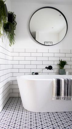 Monochrome Family Bathroom Renovation (Home Renovation Project - Katie Ellison Family Bathroom, Small Bathroom Renovations, Bathroom Renovation, Bathroom Interior, Small Bathroom Makeover, Bathroom Makeover, Monochrome Bathroom, Bathroom Design, Home Renovation