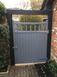 "Garden gates 653092383433235213 - Garden gate from our ""Baywood"" collection. Painted finish with galvanised gate furniture. Constructed using slow grown, redwood pine (softwood). Source by gatesfences"