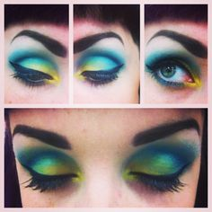 """Blue and green makeup I call: """"Flounder"""" after the adorable fish in The Little mermaid. Little Mermaid Makeup, The Little Mermaid, Fall Halloween, Halloween Party, Halloween Costumes, Green Makeup, Hair Ideas, Jr, Theater"""