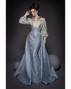 ~ Living a Beautiful Life ~ Fouad Sarkis Couture Silver Blue Long Blouson Long Sleeve Gown Dress Elegant Dresses, Pretty Dresses, Couture Dresses, Fashion Dresses, Long Sleeve Gown, Haute Couture Fashion, Beautiful Gowns, Beautiful Life, Designer Dresses