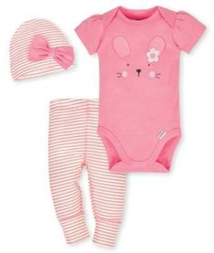 Gerber® 3-Piece Organic Cotton Bunny Bodysuit, Pants and Hat Set in Coral-Buy Buy Baby #babygirl, #organiccotton, #promotion