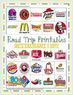 DIY Ways To Make Traveling Suck Less Road Trip Printables for Kids: Restaurant I Spy - and check out the links on the page to more fun travel activities and ideas for that long drive to Disney World! My Road Trip, Road Trip With Kids, Family Road Trips, Travel With Kids, Family Vacations, Road Trip Tips, Summer Road Trips, Road Trip Essentials, Family Travel