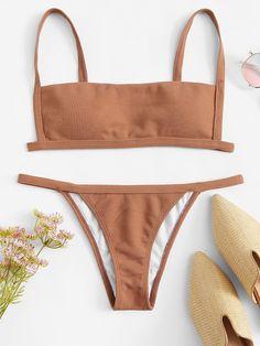 3061a17dd7d12 Simples Biquinis Castanho Maiô High Leg Bikini