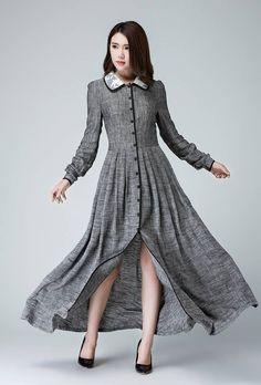 robe à manches longues gris lin robe Printemps robe longue