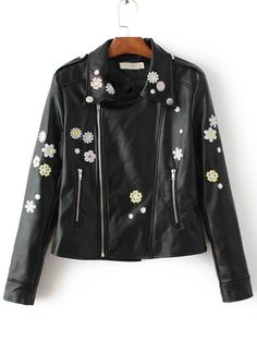 Chaqueta motera cremallera asimétrico bordado floral - negro-Spanish…