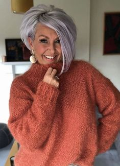 over 50 ash gray purple hair Purple Grey Hair, Short Grey Hair, Short Hair With Layers, Short Hair Cuts, Inverted Bob With Layers, Grey Hair Dye, Angled Bobs, Stacked Bobs, Short Wavy