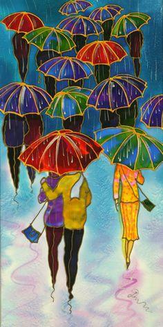 """""""Colorful Umbrellas"""" by Yelena Sidorova, 10″X20″X0.8 (Umbrellas Series-LUMB1402)"""