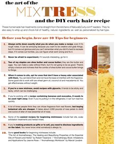 DIY product how! How to become a mixtress! http://www.naturallycurly.com/recipes/search